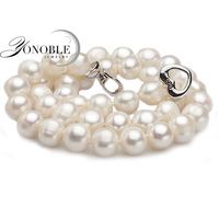 Freshwater Real Cultured Pearl Necklace Women Wedding White Choker Necklace Natural Pearl Necklace Trendy Jewelry Bridesmaid
