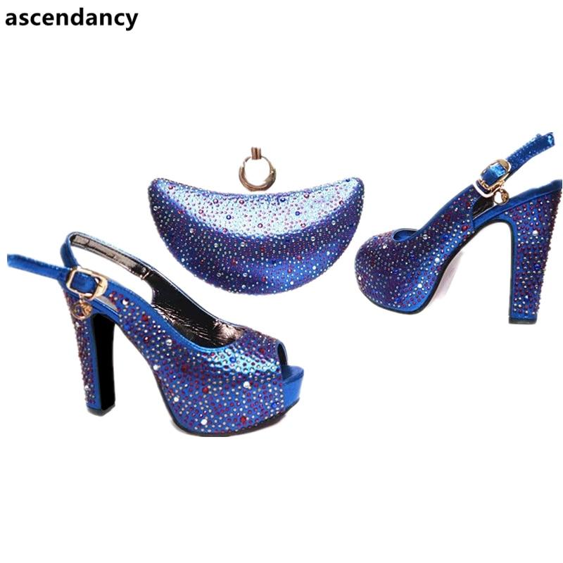 De Dernières À Ensemble or Africaines Chaussures Talons Italie Assortir Bleu rouge Mis Et Sac Hauts Femme En Mariage Sacs Femmes w86Bgw
