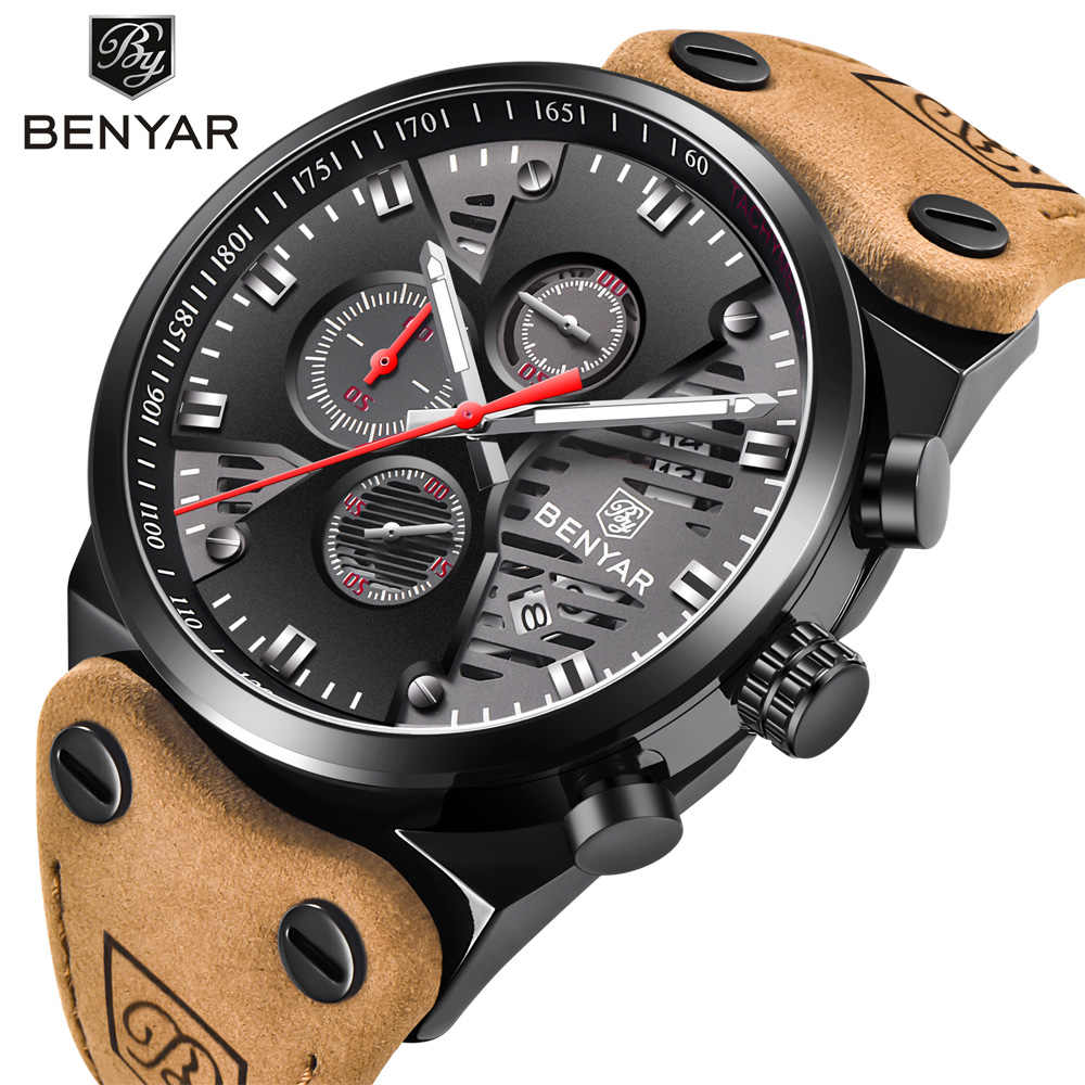 BENYAR 2018 Waterdicht 30M Outdoor Holle Sport Chronograaf Skeleton Kalender mannen Quartz Horloges ondersteuning dropshipping