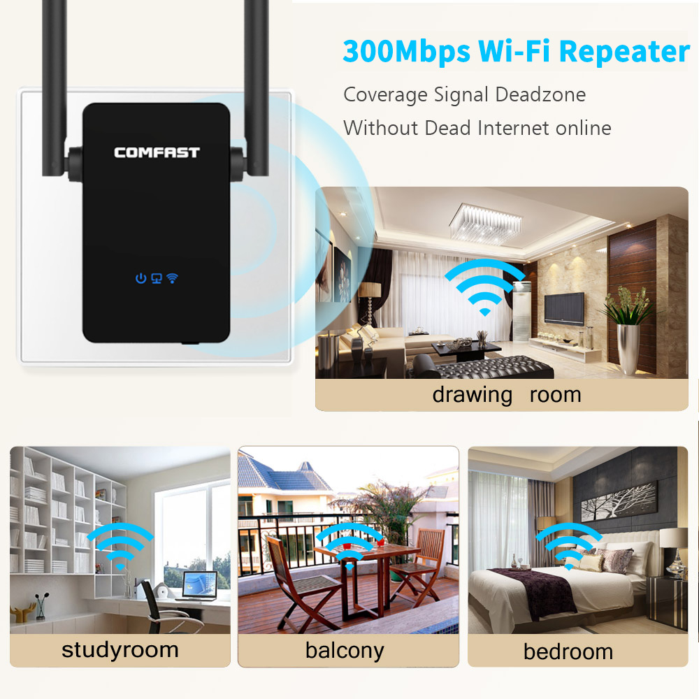 300Mbps COMFAST Wireless WiFi Range Extender Powerful 10dbi Antenna Repeater Signal Booster 2 Ethernet Antennas Wi-fi Amplifer