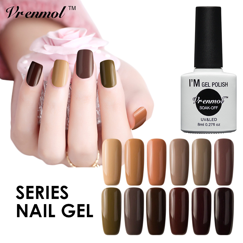 Vrenmol 8ml Gorgeous Brown Color Series UV LED Gel Nail Polish Shiny Surface UV Soak Off Gel Long Lasting Gel Varnish