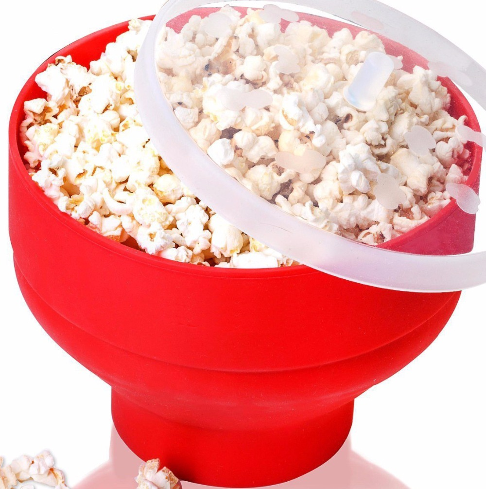 1PC New FDA Silicone Red Popcorn bowl Home Microwaveable Pop Corn Maker Bowl Microwave Safe Popcorn Bakingwares Bucket LN 002