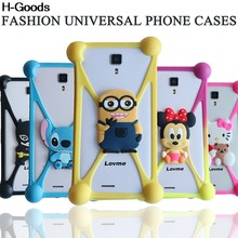 Universal 3D Soft Silicon Rubber Case for BQ E5 Doogee X5/MicroMax AQ5001 Universal Phone 3.7-6.0 inch Bear Stich Case(China)