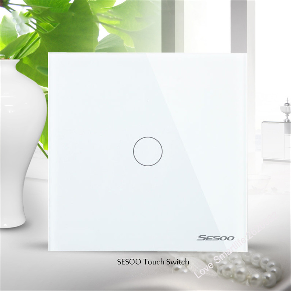 EUUK Standard SESOO Touch Switch 1 Gang 1 Way,Crystal Glass Switch Panel,Single FireWire Touch Sensing Wall Light Switch