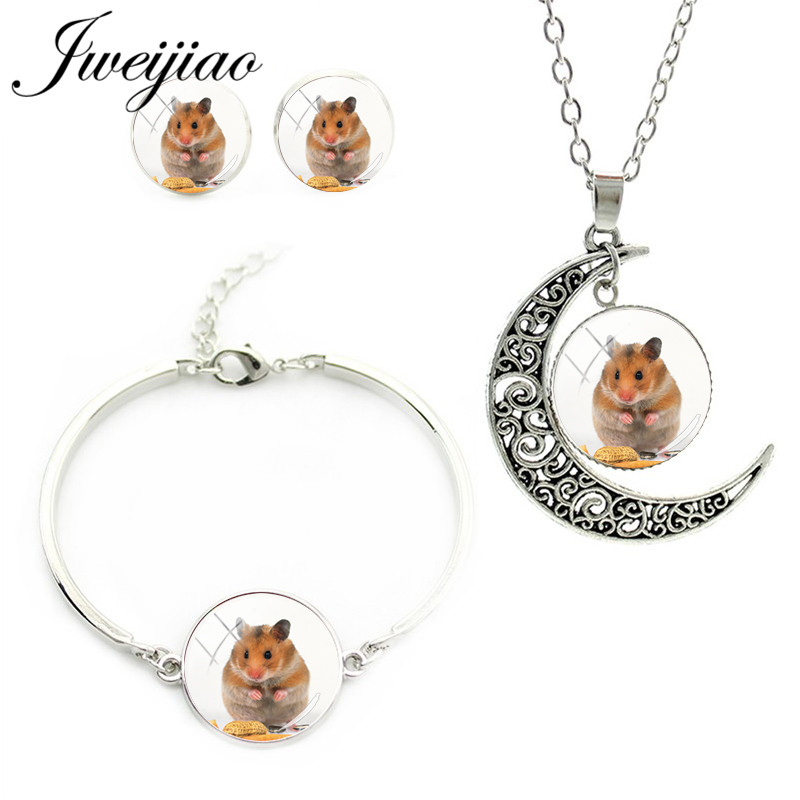 JWEIJIAO Jewelry-Sets Bracelet Necklace Earrings Pendant-Collar Small Glass Collier QF505