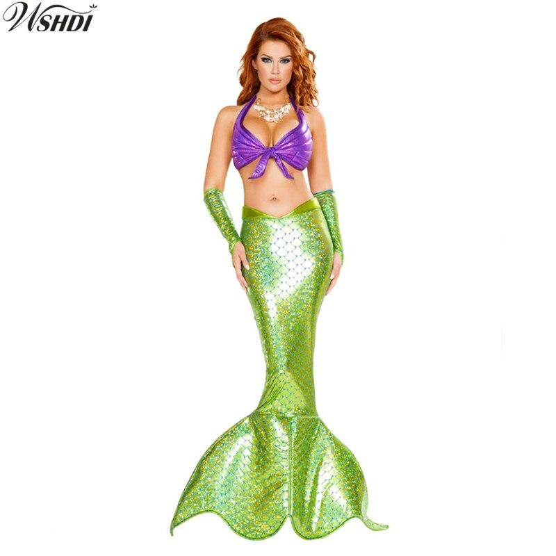 M-XL Adult Mermaid Tail Costume Cosplay Love Live Mermaid Princess Dress Halloween Masquerade Fancy Costume (Top+Skirt+Sleeves)