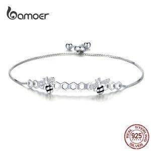 Image 1 - Bamoer abeille en nid dabeille Bracelet pour femmes 925 argent Sterling vente chaude reine des abeilles boîte chaîne Bracelets bijoux de mode SCB150