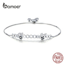 bamoer Honeycomb Bee Bracelet for Women 925 Sterling Silver Hot Sale Queen Bees Box Chain Bracelets Fashion Jewelry SCB150