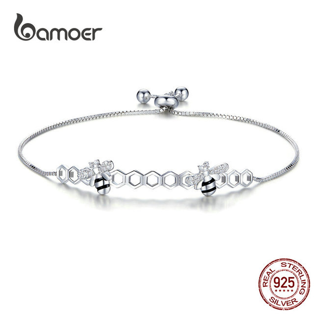 891b8f959 bamoer Honeycomb Bee Bracelet for Women 925 Sterling Silver Hot Sale Queen  Bees Box Chain Bracelets Fashion Jewelry SCB150