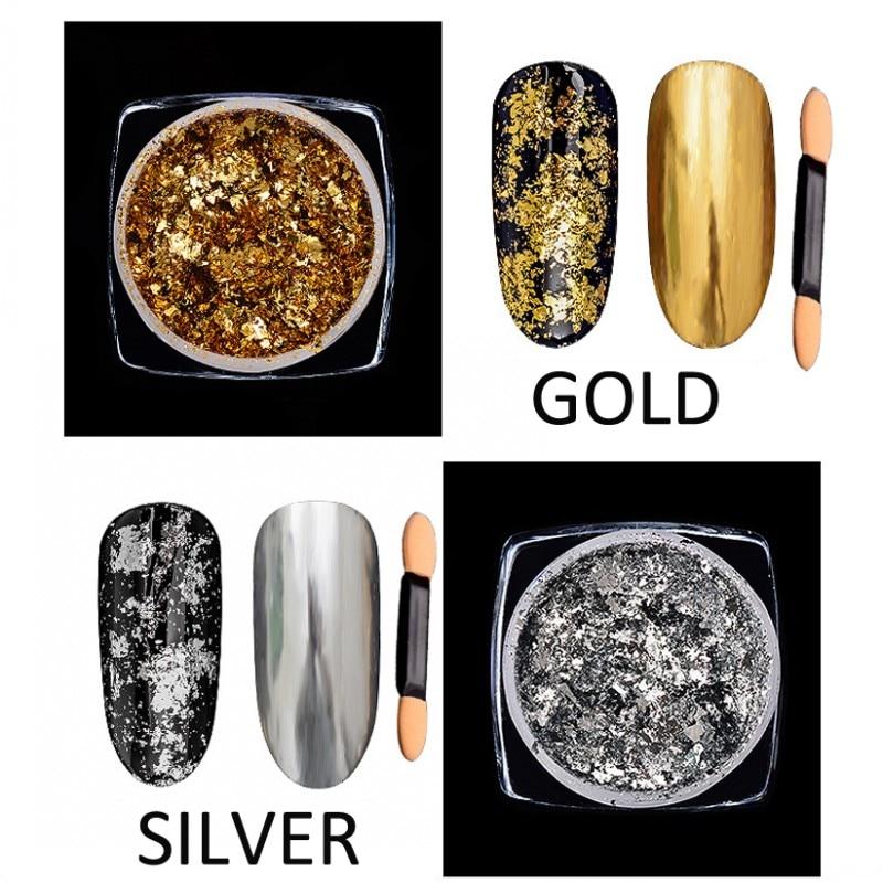 Nails Art & Werkzeuge Verantwortlich 1 Box 0,2g Aluminium Nagel Flocken Pailletten Pulver Magie Spiegel Glitters Gold Silber Rot Farben Unregelmäßige Pigment Nagel Dekoration