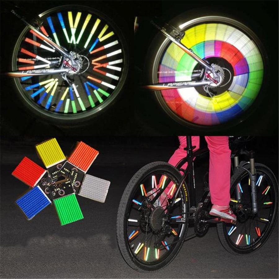 12PCS 75mm Bike Bicycle Cycling Wheel Rim Spoke Tube Reflective Coating Films