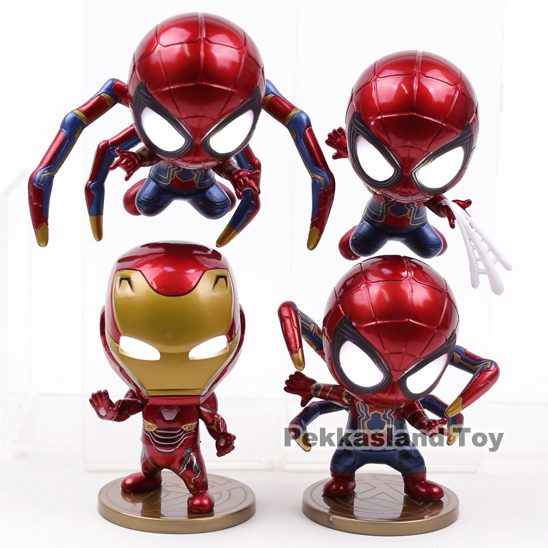 Action & Toy Figures Imported From Abroad Avengers Infinity War Iron Man Spiderman Iron Spider Pvc Action Figures Toys With Led Light 4pcs/set