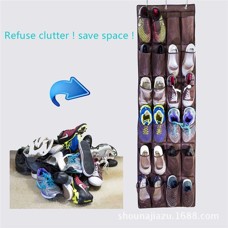 24 pockets foldable wardrobe hanging storage bags save space wall organizer closet shoes rack bag folding