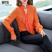 WYG High Quality Women Designer Blouses 2018 Autumn New Front Key Hole Pleated Ruffles Frilled Orange White Flare Sleeve Blouse