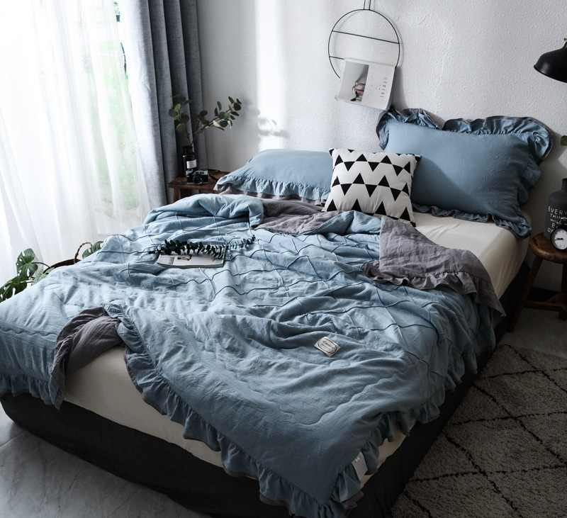 2019 Ruffles Plaid Summer Quilt Pillowcase Bedspread Blanket Comforter Bed Cover Quilting Home Textiles Suitable Thin Coverlet