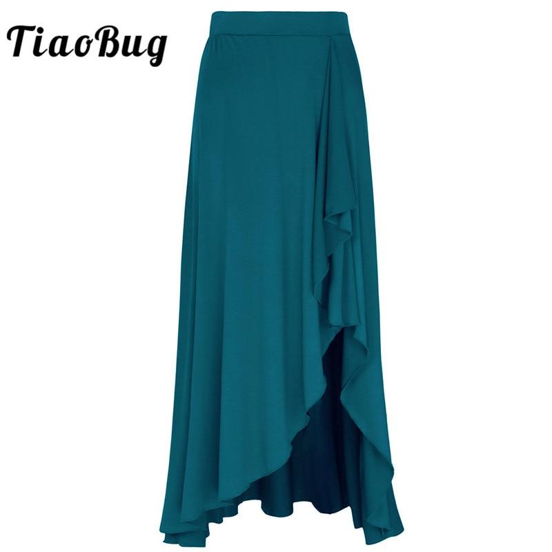TiaoBug Fashion Women Asymmetric Elastic Ballet Skirt Adult Gymnastics Ballerina Performance Contemporary Lyrical Dance Costumes