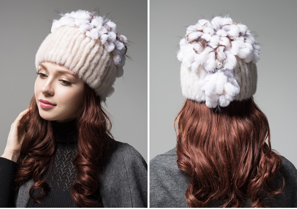 mink fur hats female winter PCM016 (14)