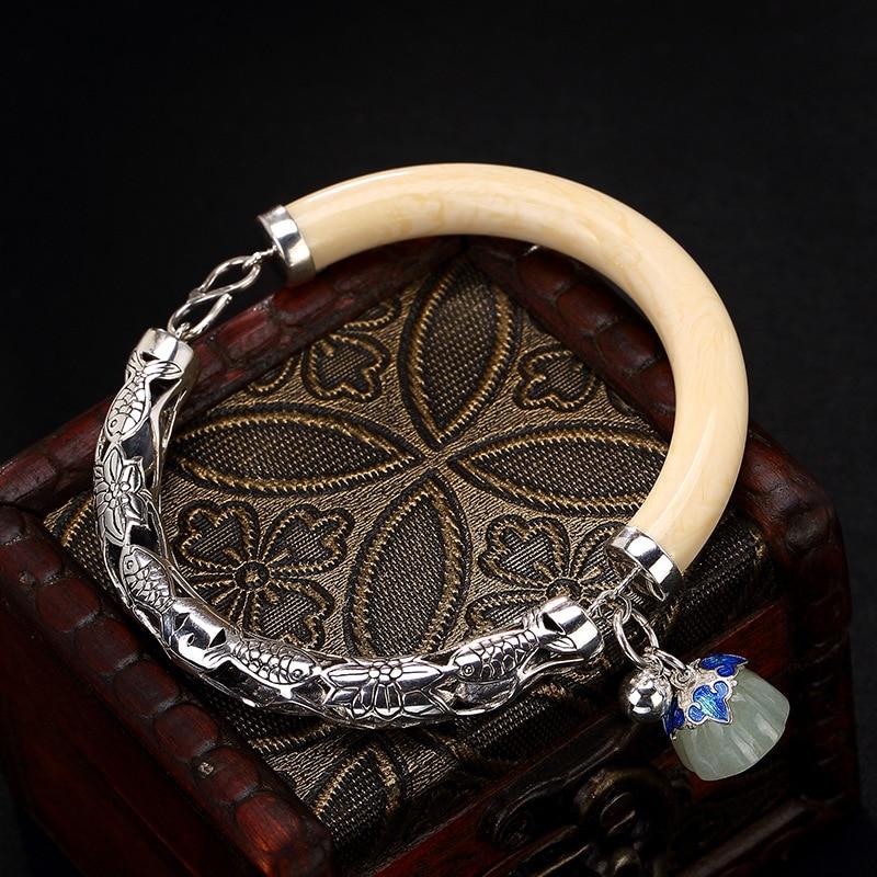 2018 Jade Bangle Retro 925 Sterling Bracelets For Women Vintage Natural Hetian Jade Jewelry Female Bracelet Wholesale. vintage artificial jade embossed ring for women
