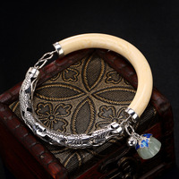 2018 Jade Bangle Retro 925 Sterling Bracelets For Women Vintage Natural Hetian Jade Jewelry Female Bracelet Wholesale.