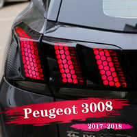 6PCS Car Rear Tail Light Lamp Honeycomb Protector Sticker For Peugeot 3008 GT 2016 2017 2018 Auto Accessories Styling