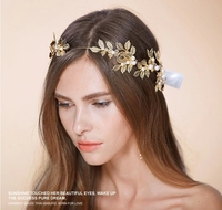 Exquisite Flowers Leaf Pearl Hoop Gold Crown Band Wedding Headdress Flower Bride Wedding Hair Accessories