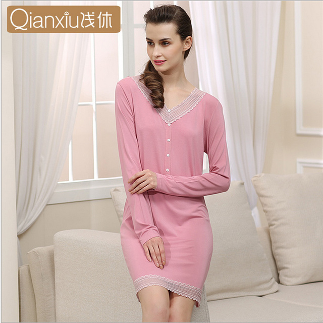 Cotton pajamas Spring new skirt ladies fashion V-Neck Sleeve Modal Lingerie 95% cotton soft Simple and generous