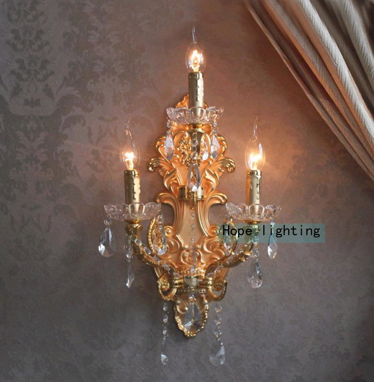 Crystal LED Wall Lights Modern Wrought Iron Wall Lamp Three Lights Large Sconces for Hotel Home Wall Light with Textile Fabric