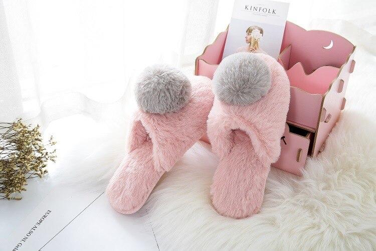 Домашняя обувь с большим мехом; тапочки; сезон осень-зима; новые стильные тапочки для девочек; теплые хлопковые тапочки; милая обувь принцессы; размеры 36-41