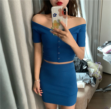 цены Club Outfits Women Set Sexy 2 Two Piece Skirt Outfits Set Off Shoulder Knitting Short Sleeve Crop Top + Mini Pencil Skirt