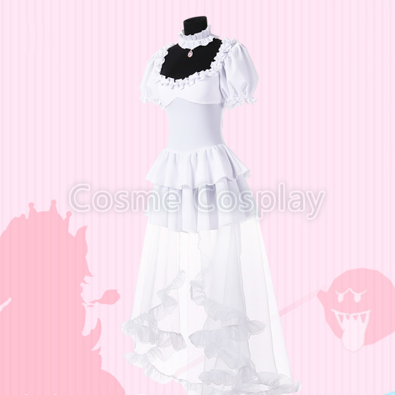 Super Mario Princess Mononoke Cospaly Costume Bowser Cos Mario Princess Toadstool Peach Cosplay Hime Feminine White Dress