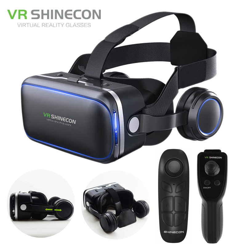 Shinecon 6.0 Virtual Reality Smartphone 3D Kacamata VR Headset Stereo Helm VR Headset dengan Remote Control untuk IOS Android