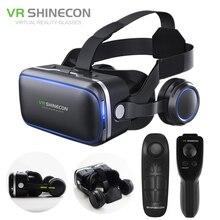 Shinecon 6.0 가상 현실 스마트 폰 3D 안경 VR 헤드셋 스테레오 헬멧 VR 헤드셋, IOS 안드로이드 용 리모컨 포함