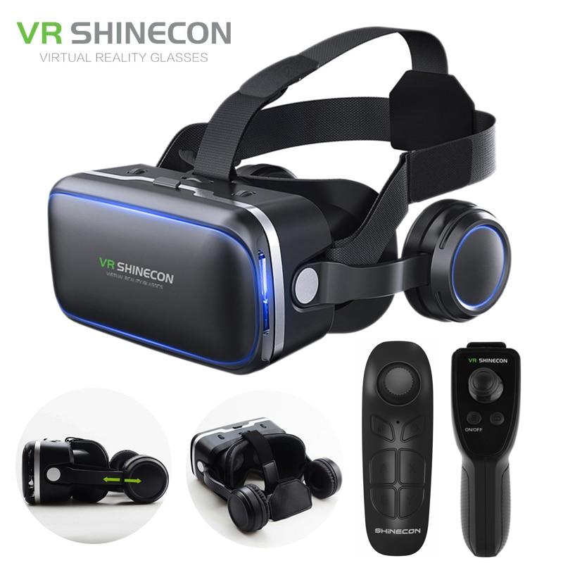 Shinecon 6.0 realidade virtual smartphone 3d óculos vr fone de ouvido estéreo capacete vr fone de ouvido com controle remoto para ios android