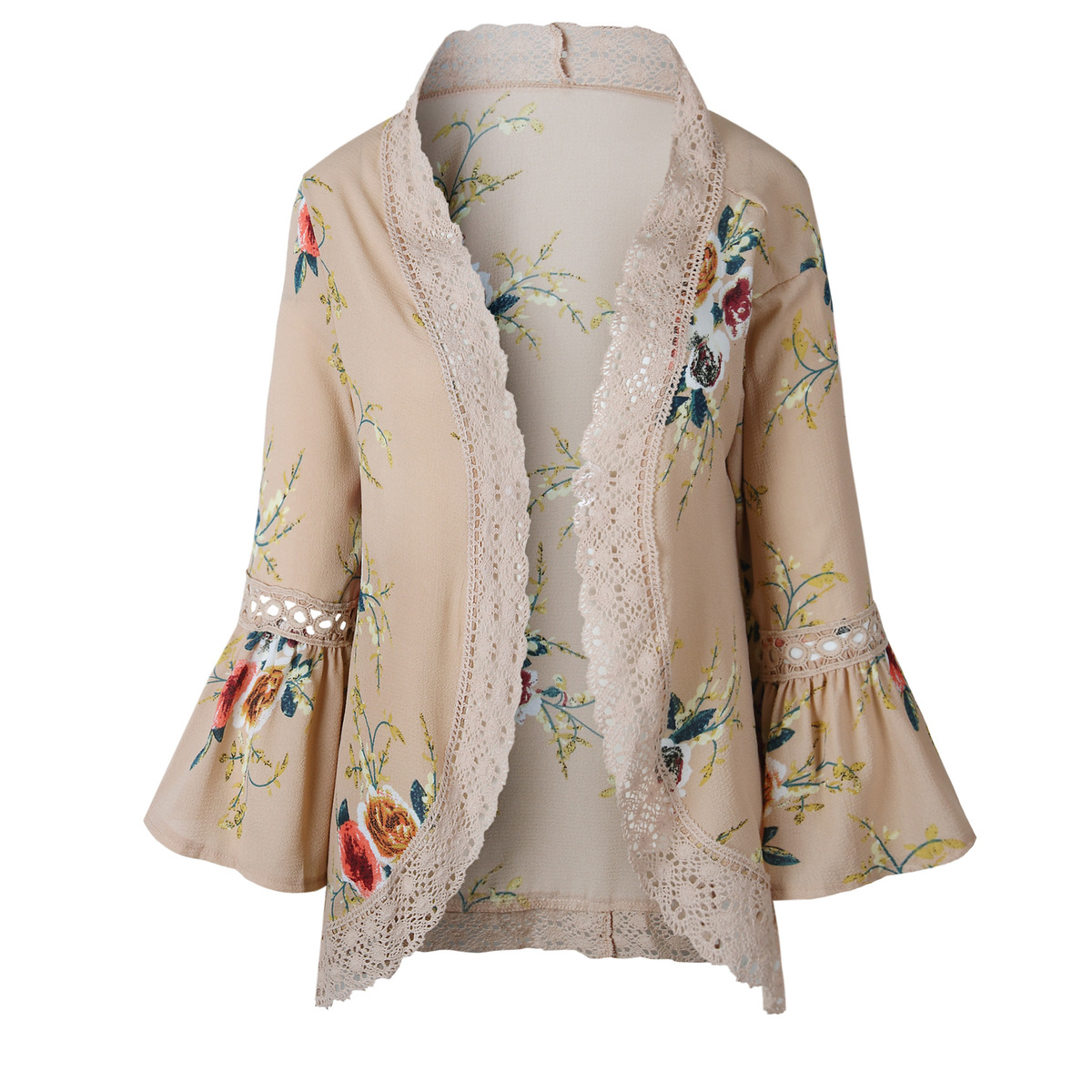 HTB1v49NEgmTBuNjy1Xbq6yMrVXa6 Women Plus Size Loose Casual Basic Jackets Female 2018 Autumn Long Flare Sleeve Floral Print Outwear Coat Open Stitch Clothing
