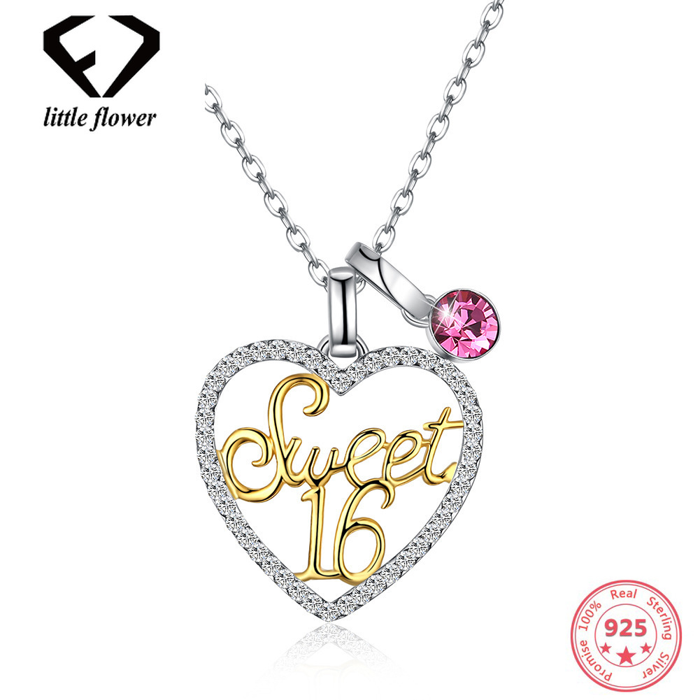Austria Crystal Element Necklace European and American Sterling Silver 925 Heart-Shaped 18 Year Old Clavicle Ball Chain Girl. equte psiw304c1 925 sterling silver austria crystal white heart pendant necklace 18 chain