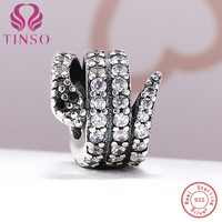 100% Authentique 925 Sterling Argent Serpent Forme Charme Perles Fit Pandora Charm Bracelet DIY D'origine Argent Fabrication de Bijoux