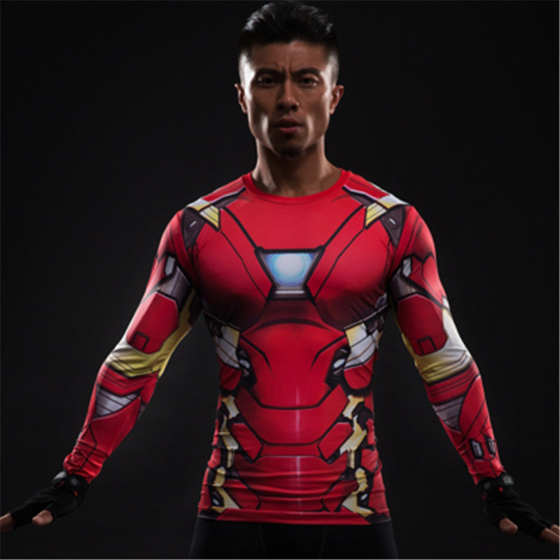 Iron Man MK46 3D Printed T-shirts man Captain America Compression Shirt Long Sleeve Tops Cosplay Costumes For Man