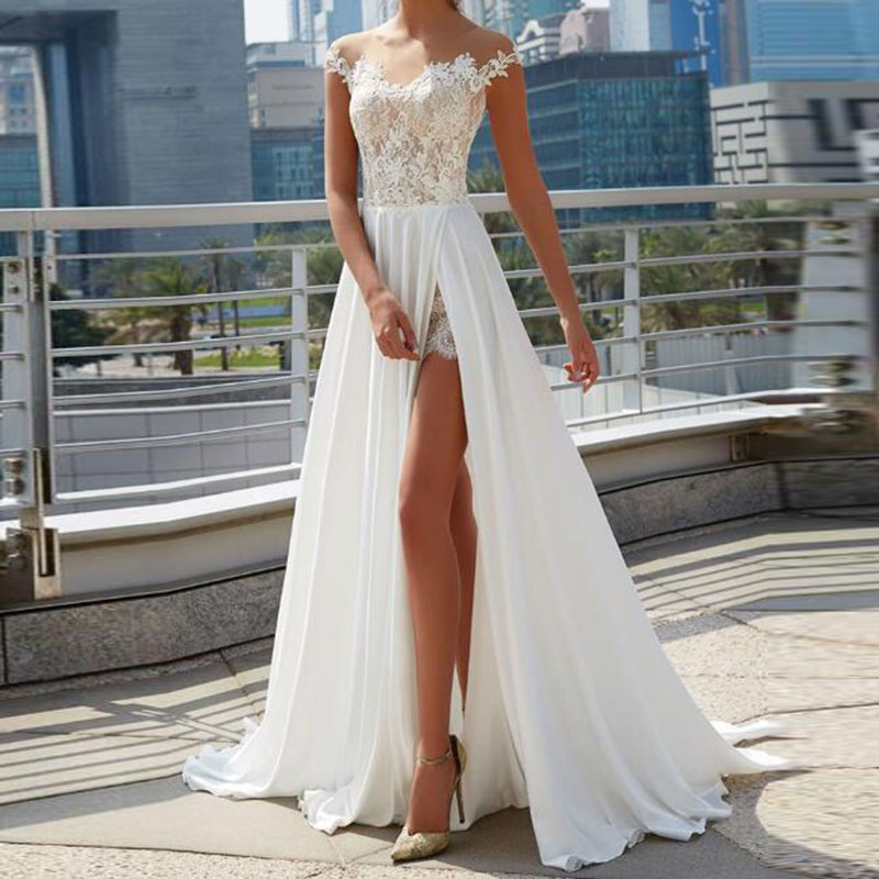 LORIE Beach Wedding Dresses 2019 Robe Mariage Vintage Lace Top Elegant Women Ivory Bridal Dress Side Split Boho Wedding Gown