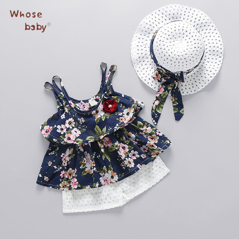 Summer Baby Girl Clothes 3Pcs Flower Newborn Baby Set Cute Bow Tops+Short+Hat Holiday Beach Clothing For Baby Suit For Girls