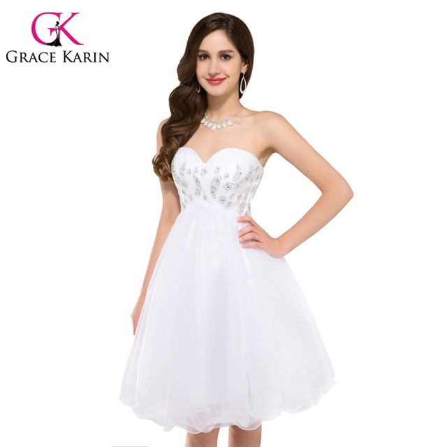 Grace Karin Cute Ball Gown Organza Short White Prom Dresses Beaded ...