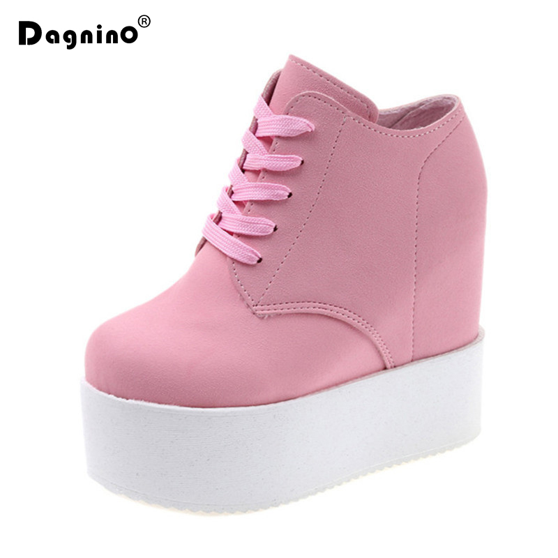 DAGNINO Wedge 11cm High Heels Zapatos Mujer Platform Canvas Muffin Femme Women School Valentine Zapatos Casual Shoes Sneakers 2018 wedge high heels thick soled high top ladies casual shoes women platform canvas shoes hidden wedge heel boots zapatos mujer