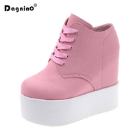 DAGNINO Wedge 11cm High Heels Zapatos Mujer Platform Canvas Muffin Femme Women School Valentine Zapatos Casual