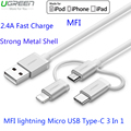 Ugreen I6 For MFI Lightning Micro USB Type C Cable 3 In 1 For iPhone 7 Plus Samsung S7 Edge Huawei Mate 9 Fast Charge USB Cable