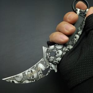 Голова черепа покрытие Karambits тактический нож 440 нержавеющая клинок в форме клешни крышка ручка карманный нож инструмент для выживания Открытый подарок