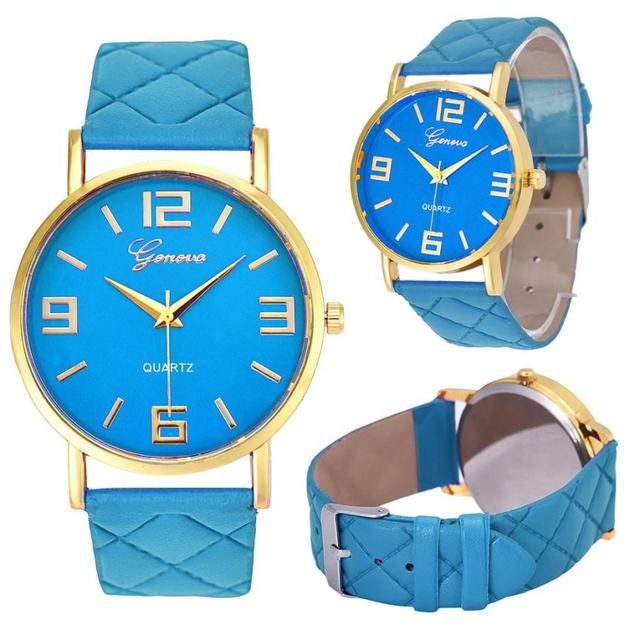 #5001 Fashion Leisure Woman Watch Women Geneva Faux Leather Analog Quartz Wrist