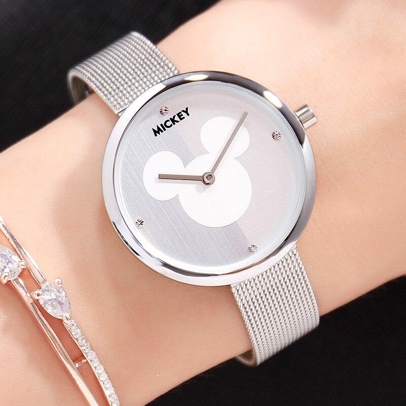 e479176da50f Aliexpress.com  Comprar Disney marca Original caja de regalo Mickey Mouse  relojes de mujer de acero inoxidable de cuero para damas de relojes de oro  rosa ...