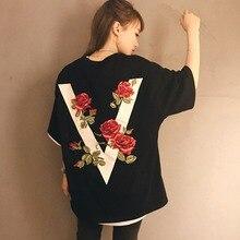 Couple Capital V Rose Printed T-Shirt Casual Short Sleeve O Neck Loose Long T-Shirt Harajuku Cozy Wild Black White T Shirts New