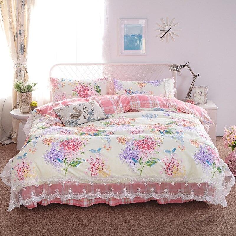 Free Shipping Modern Style 100% Cotton Duvet Cover Set Bed Sheet Pillowcase  King Size Super Soft Bedding Sets GODU014