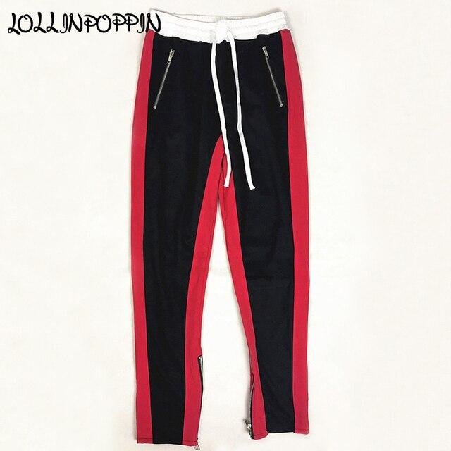 7708c06e2 Side Zipper Mens Contrast Color Side Stripe Track Pants Zippered Pockets    Leg Opening High Street Jogger Pants Elastic Waist