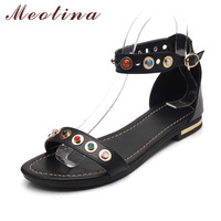 Meotina Summer Gladiator Sandals Cow Genuine Leather Shoes Women Buckle Strap Colorful Pearls Flats Sandals Black